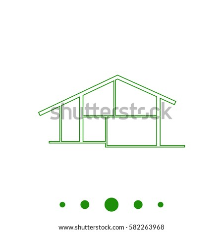 cottage simple outline vector icon on stock vector 348378785 shutterstock. Black Bedroom Furniture Sets. Home Design Ideas