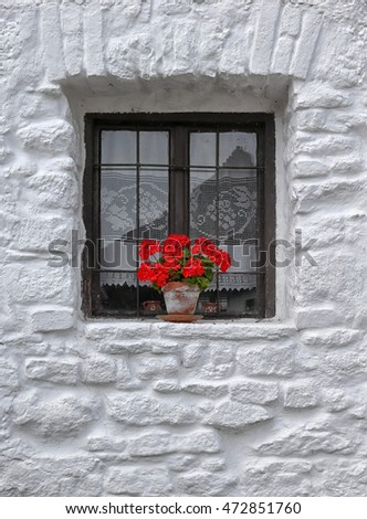 Cottage window in Tihany, Hungary