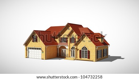 cottage with a red roof on a gray background - stock photo