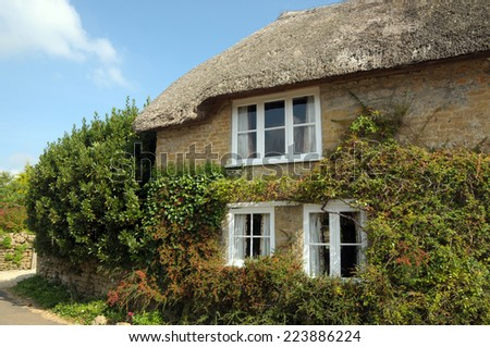 Cottages in Powerstock village, Dorset - stock photo