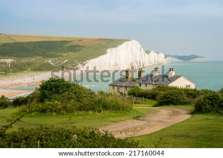 Cottages & 7 Seven Sisters, Brighton, England - stock photo