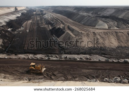 COTTBUS, GERMANY - MARCH 13, 2011: Open-pit coal mining Cottbus Nord near Cottbus, Lower Lusatia, Brandenburg, Germany. - stock photo