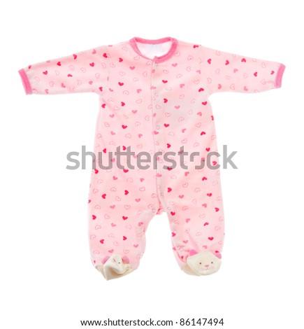 Cotton baby sleeper isolated on white background - stock photo