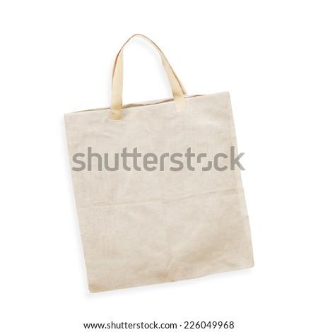 cotton bag on white isolated background - stock photo