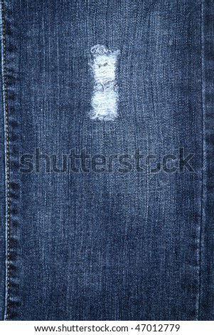 Cotton blue jeans texture - stock photo