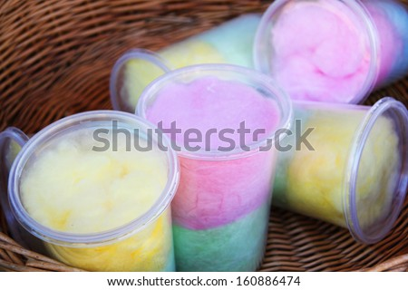 Cotton candy in jars - stock photo