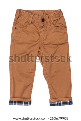 Cotton elegant braun children's trousers with checkered lapel, isolated on the white - stock photo