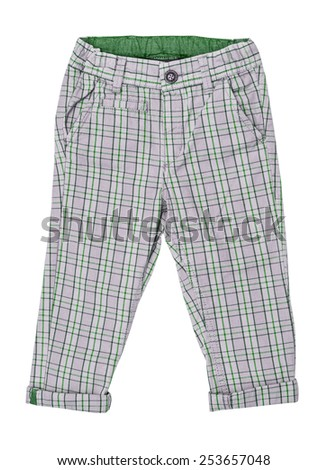 Cotton elegant children's trousers, checkered,  in a green cage, isolated on the white - stock photo
