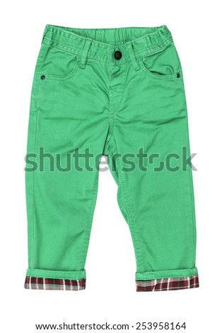 Cotton elegant green children's trousers with checkered lapel, isolated on the white - stock photo