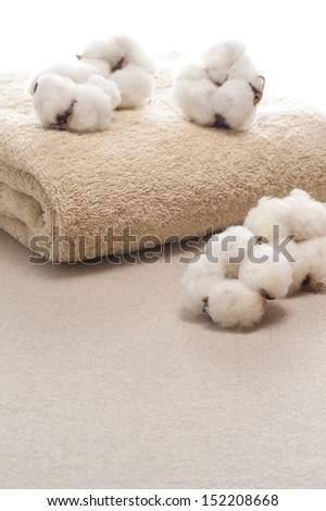 cotton flower and towel on cloth background - stock photo