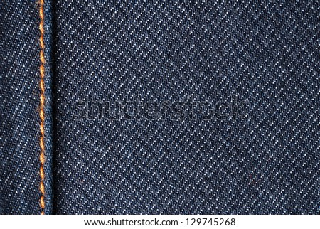 Cotton jeans material detail - stock photo