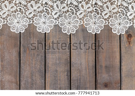 Cotton Lace Tablecloth On Wooden Grey Rustic Background Text Place Copy Space Gray