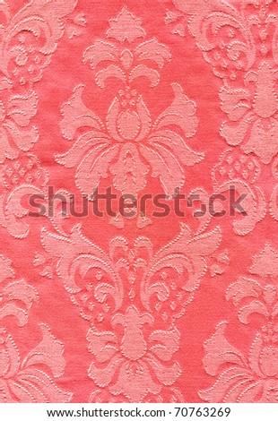 cotton pink fabric with damask pattern - stock photo