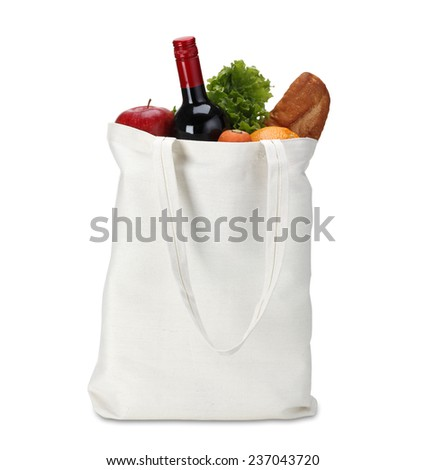 Cotton shopping bag/with clipping path - stock photo