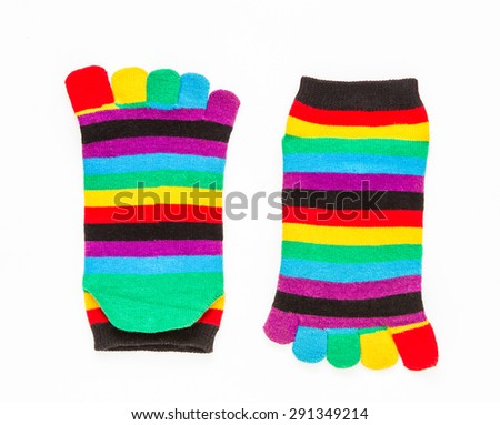 Cotton socks on white background for design.