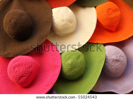 cotton summer hats on market - stock photo