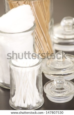 Cotton swabs and balls, tongue depressors - stock photo