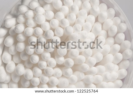 cotton swabs in a box, macro shot, local focus