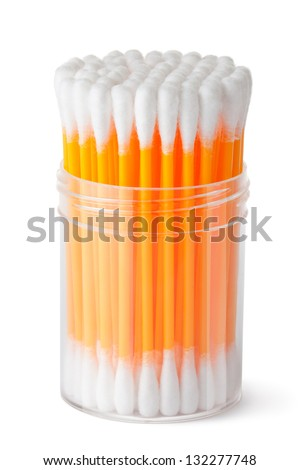 Cotton swabs in transparent plastic box. Isolated on a white. - stock photo