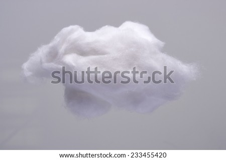 Cotton Wool Cloud isolated in Grey Background. Clouds Made of Real Cotton - stock photo