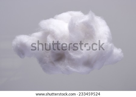 Cotton Wool Cloud isolated on Grey Background. Clouds Made of Real Cotton - stock photo