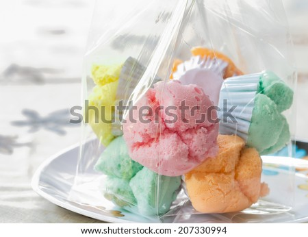 cotton-wool cup cake one of Thai dessert - stock photo