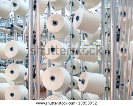Cotton yarn spools (bobbins) in a textile factory