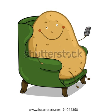 Couch Potato illustration; Smiling potato sitting on a couch holding a remote control - stock photo