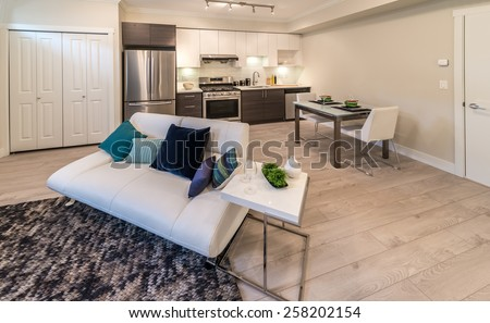 Couch, sofa in the family, living room with the dining table and luxury modern kitchen at the back. Interior design. - stock photo