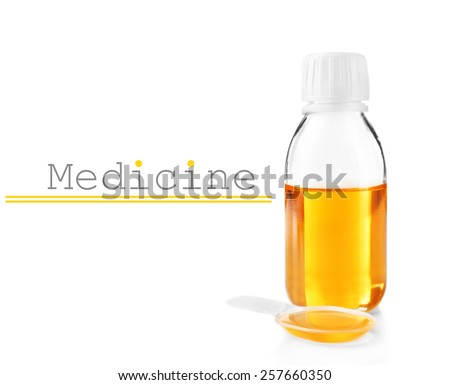 Cough syrup isolated on white - stock photo
