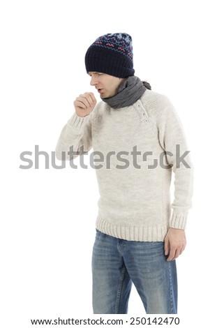 Coughing sick man - stock photo