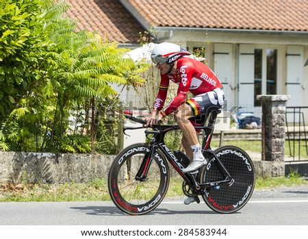 COULOUNIEIX-CHAMIERS,FRANCE-JUL26:The Australian cyclist Adam Hansen (Lotto Belisol Team) pedaling  during the stage 20 ( time trial Bergerac - Perigueux) of Le Tour de France 2014.  - stock photo