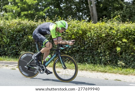 COULOUNIEIX-CHAMIERS,FRANCE-JUL26: The Dutch cyclist Lars Boom(BelkinTeam) pedaling during the stage 20 ( time trial Bergerac - Perigueux) of Le Tour de France 2014. - stock photo