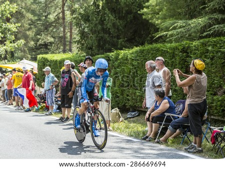 COULOUNIEIX-CHAMIERS,FRANCE-JUL26: The Dutch cyclist Tom-Jelte Slagter (Garmin-Sharp Team) pedaling during the stage 20 ( time trial Bergerac - Perigueux) of Le Tour de France 2014. - stock photo