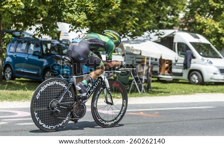 COULOUNIEIX-CHAMIERS,FRANCE-JUL26:The French cyclist Bryan Coquard (Europcar Team) pedaling during the stage 20 ( time trial Bergerac - Perigueux) of Le Tour de France 2014.  - stock photo