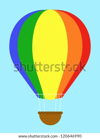 Coulourful hot-air balloon with striped panels in the colours of the rainbow floating high in a clear blue sky with an empty wicker basket gondola dangling below, isolated vector illustration - stock photo