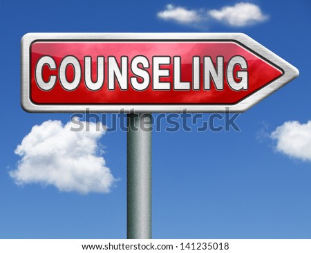 Counseling marriage therapy psychotherapy psychology session professional help red road sign arrow with text and word concept - stock photo