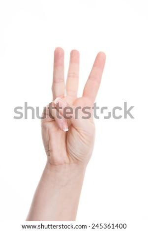 count -three, show three fingers - stock photo