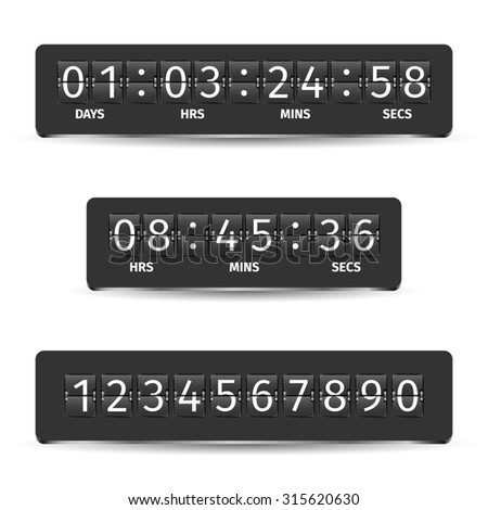 Countdown clock timer analog display mechanical time indicator black  illustration - stock photo