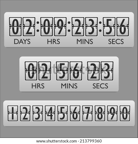 Countdown clock timer mechanical numbers board panel indicator display  illustration - stock photo