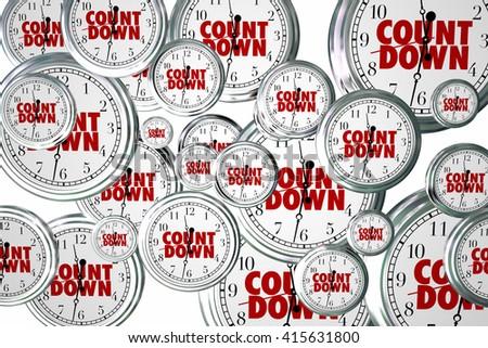 Countdown Clocks Flying Deadline Time Passing Due Date Moment 3d Illustration - stock photo