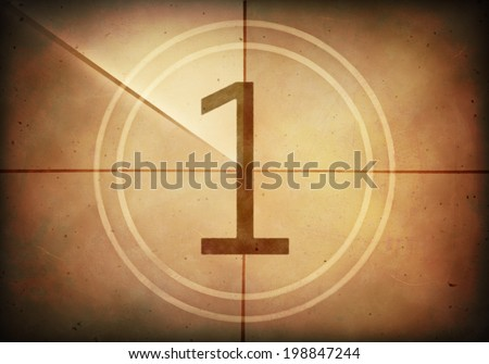Countdown on the old movie screen. High resolution image with detailed quality. - stock photo