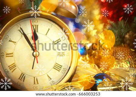 Countdown to holiday celebration. Composition with alarm clock and Christmas decorations, closeup