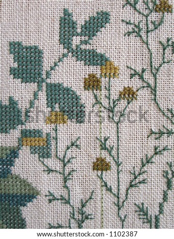 Counted cross-stitch detail - stock photo
