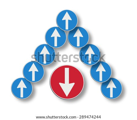 Counter-current concept image. The red arrow goes against - stock photo