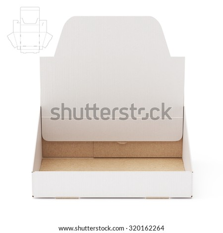 Counter Display Shelf Box with Die Line Template - stock photo