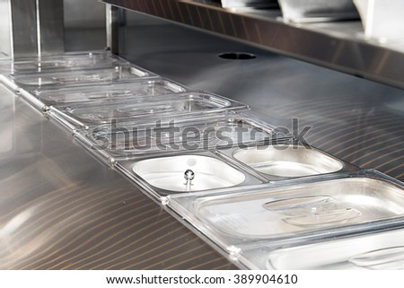 counter for food warmers in a fast food restaurant