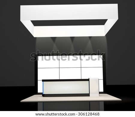 counter information  booth and display screen - stock photo