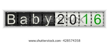Counter with Baby 2016, 3D Illustration - stock photo