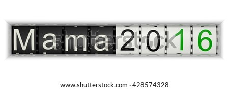 Counter with Mama 2016, 3D Illustration - stock photo